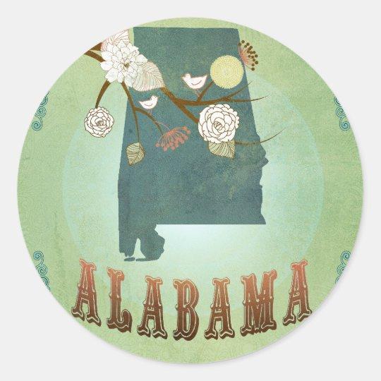 Alabama State Map – Green Classic Round Sticker