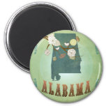 Alabama State Map – Green Refrigerator Magnet