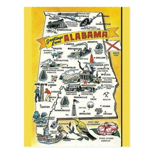 Alabama State  Map Postcard