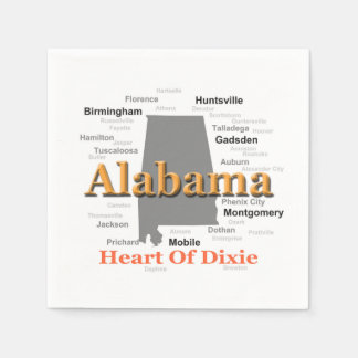 Alabama State Pride Map Silhouette Disposable Napkin