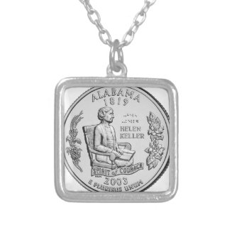 Alabama State Quarter Silver Plated Necklace