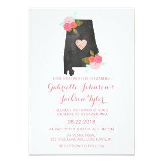 Alabama State Watercolor Floral Wedding Invitation