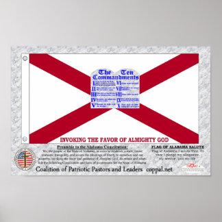 Alabama Ten Commandments flag Poster