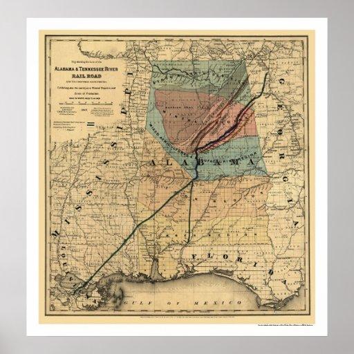 Alabama Amp Tennessee Railroad Map 1867 Print  Zazzle