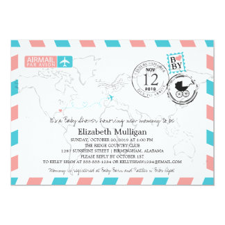 Alabama to Europe Airmail | Baby Shower Card