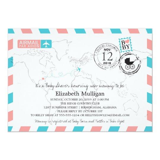 Europe Airmail Baby Shower Invitation