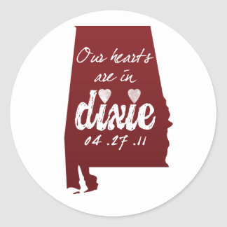 Alabama Tornado Relief - Hearts with Dixie Classic Round Sticker