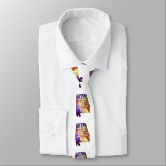 Alabama U.S. State in watercolor text cut out Necktie