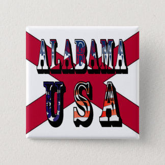 Alabama USA State Flag Button