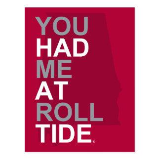 Alabama usted me tenía en la marea del rollo postales