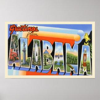 Alabama Vintage Greetings Poster