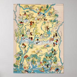 Alabama Vintage Map Poster