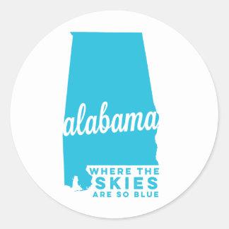 alabama   where the skies are so blue   sky blue classic round sticker