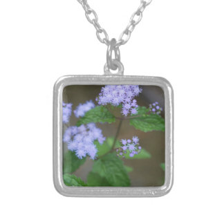 Alabama Wild Lavender Ageratum Wildflowers Silver Plated Necklace