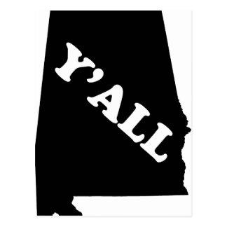 Alabama Yall Postcard