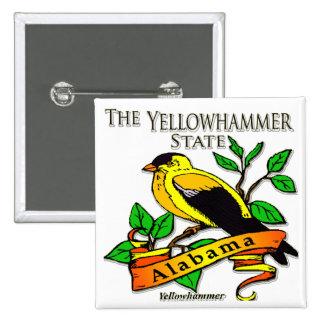 Alabama Yellowhammer Bird 2 Inch Square Button