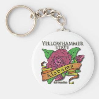 Alabama Yellowhammer State Camellias Basic Round Button Keychain