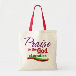 Alabanza a dios de la creación bolsa tela barata