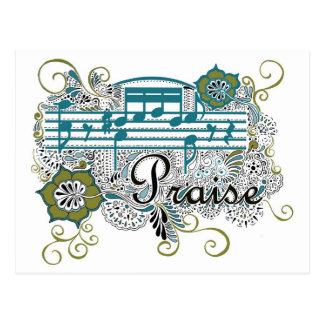 Alabanza con las notas musicales postales