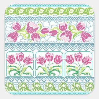 Alabanza de los tulipanes pegatina cuadrada