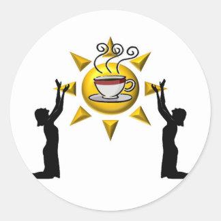 Alabanza del café pegatina redonda