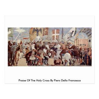 Alabanza del Crossby santo Piero della Francesca Tarjetas Postales