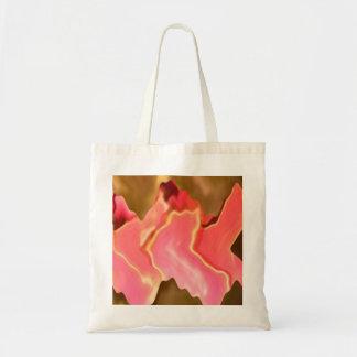 Alabanza rosada - arte del pétalo color de rosa bolsa tela barata