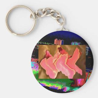 Alabanza rosada - arte del pétalo color de rosa llavero redondo tipo pin