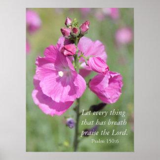 Alabanza rosada del Hollyhock Póster