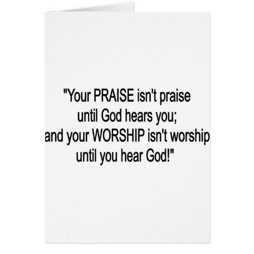 Alabanza y adoración tarjeta de felicitación