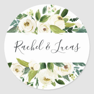Alabaster | Botanical Floral Wedding Classic Round Sticker
