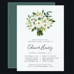"""Alabaster Bouquet Rehearsal Dinner Invitation<br><div class=""""desc"""">Elegant floral rehearsal dinner invitations feature a bouquet of watercolor white roses and peonies with lush green botanical foliage and leaves. Personalize with your rehearsal dinner details beneath in a chic mix of block,  serif and calligraphy typefaces. Includes space for both the ceremony rehearsal and dinner or celebration.</div>"""