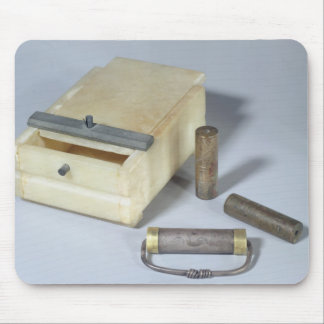 Alabaster box and bronze and silver seal cylinders mousepads