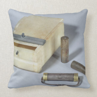 Alabaster box and bronze and silver seal cylinders pillow