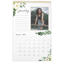 Alabaster Floral   12 Photo Calendar with Notes