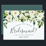 """Alabaster Floral Be My Bridesmaid Card<br><div class=""""desc"""">Chic floral bridal party proposal card features a top border of ivory roses and white peonies with lush botanical foliage and greenery. Personalize with your bridesmaid request details (shown with &quot;will you be my bridesmaid? I can&#39;t say I do without you&quot;) in modern hand lettered script and traditional sans serif...</div>"""