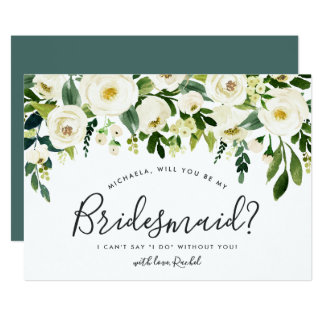 Alabaster Floral Be My Bridesmaid Card