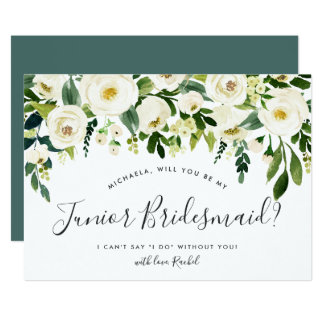 Alabaster Floral Be My Junior Bridesmaid Card