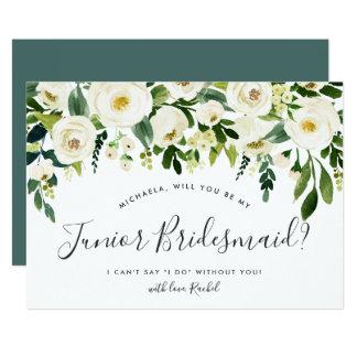 Alabaster Floral Be My Junior Bridesmaid Card