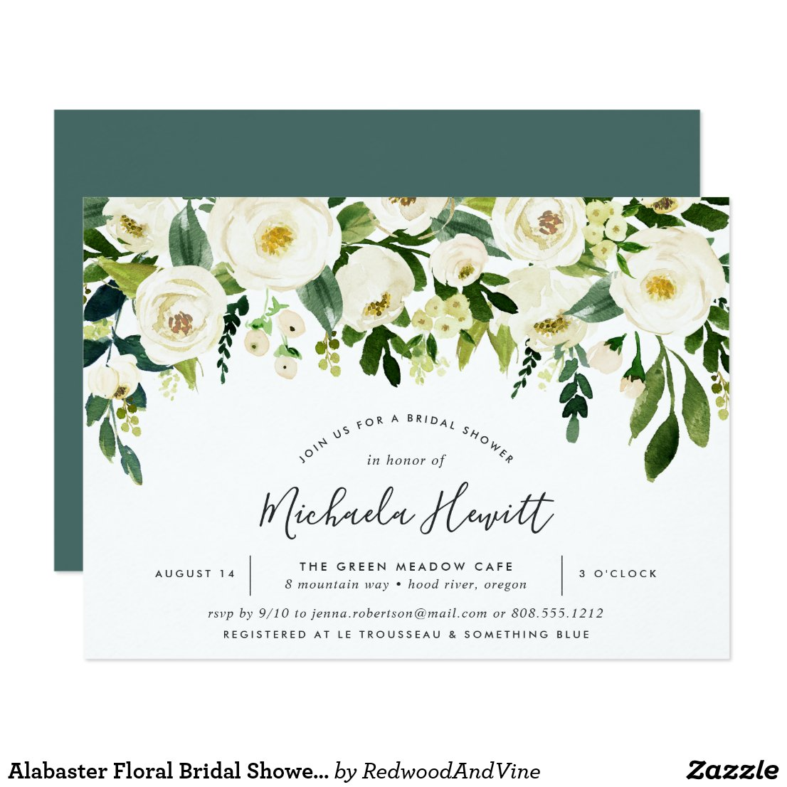 Alabaster Floral Bridal Shower Invitation