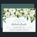 """Alabaster Floral Bridal Shower Invitation<br><div class=""""desc"""">Chic floral bridal shower invitation features a top border of ivory roses and white peonies with lush botanical foliage and greenery. Personalize with your bridal shower details in modern hand lettered script and traditional sans serif lettering. Invitations reverse to rich jewel toned jasper green.</div>"""