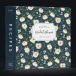 """Alabaster Floral Bridal Shower Recipe Binder<br><div class=""""desc"""">Collect recipes for the bride to be and organize them in this pretty floral binder with tons of personalization options! Chic navy blue binder features a pattern of white and ivory watercolor flowers and lush green foliage. Customize the front with the bride to be&#39;s name and shower date, and add...</div>"""