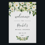 "Alabaster Floral Bridal Shower Welcome Poster<br><div class=""desc"">Welcome guests to your bridal shower with our Alabaster Floral poster,  featuring lush watercolor botanical greenery and white flowers,  with &quot;welcome to [name&#39;s] bridal shower&quot; and the event date in a chic mix of modern block and hand lettered calligraphy typefaces.</div>"