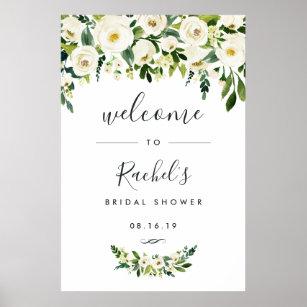 alabaster floral bridal shower welcome poster