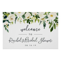 Alabaster Floral Bridal Shower Welcome Poster