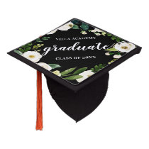 Alabaster Floral | Custom School Name & Class Year Graduation Cap Topper