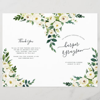 Alabaster Floral Folded Wedding Program