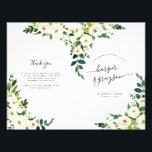 """Alabaster Floral Folded Wedding Program<br><div class=""""desc"""">Our garden floral wedding program features your ceremony details in elegant lettering, accented with painted ivory watercolor flowers and lush green botanical foliage. Personalize with the names of your wedding party with easily editable text fields. Coordinates with our Alabaster floral wedding invitation collection. Use the template fields to add your...</div>"""