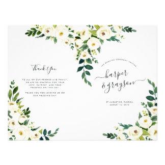 Alabaster Floral Folded Wedding Program