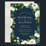 """Alabaster Floral Frame Wedding Invitation<br><div class=""""desc"""">Our Alabaster wedding invitation surrounds your wedding day details with a frame of painted watercolor greenery,  botanical foliage and white rose and peony flowers on a rich navy blue background. Your wedding details are displayed in chic white lettering with handwritten accents.</div>"""